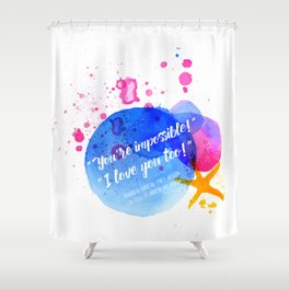 """Percy Jackson Percabeth House of Hades """"I love you too!"""" Quote Shower Curtain"""