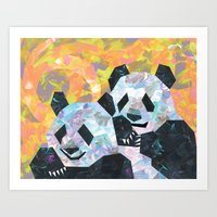 pandas Art Prints featuring Pandas by DanielleArt&Design