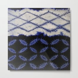 V42 Dark Blue Traditional Moroccan Texture Metal Print