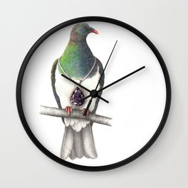 Kereru with Pendant Wall Clock