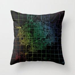 Sioux Falls SD USA City Map Rainbow City Map Art Print Throw Pillow