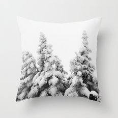 Snow Covered Pines Throw Pillow