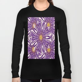 Abstracted Purple-White Flower Pattern Design Long Sleeve T-shirt