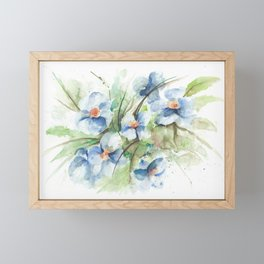 Blue floral watercolor Framed Mini Art Print