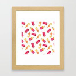 watercolor popsicle pattern Framed Art Print