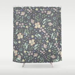 Country Flowers - French Grey Shower Curtain