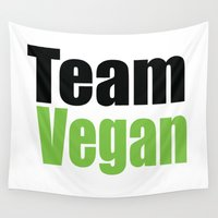 vegan Wall Tapestries featuring Team Vegan  by Michael P. Moriarty