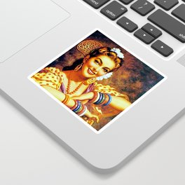 Jesus Helguera Painting of a Mexican Calendar Girl with Bangles Sticker