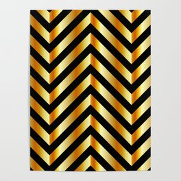 High grade raw material golden and black zigzag stripes Poster