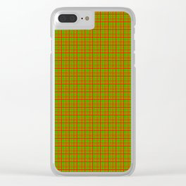 Red Lime Green Check Clear iPhone Case