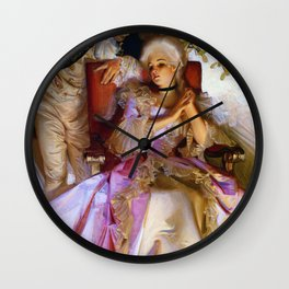 Colonial Style Couple Under Mistletoe - Digital Remastered Edition Wall Clock