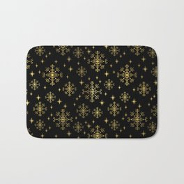 Gold and black snowflakes winter minimal modern painted abstract painting minimalist decor nursery Bath Mat