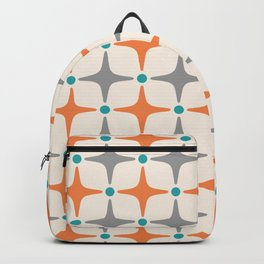 Mid Century Modern Star Pattern Grey and Orange Backpack