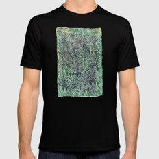 Snow Pines(Light Green) MEDIUM Mens Fitted Tee Black