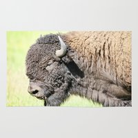 bison Area & Throw Rugs featuring Bison by Irène Sneddon