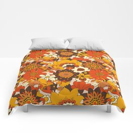 Retro 70s Flower Power, Floral, Orange Brown Yellow Psychedelic Pattern Comforters