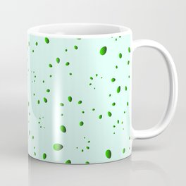 A lot of drops and petals on a green background in nacre. Coffee Mug