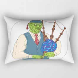Zombie Piper Playing Bagpipes Grime Art Rectangular Pillow