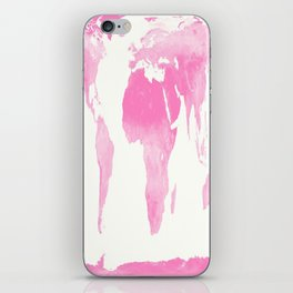 world map pink  iPhone Skin