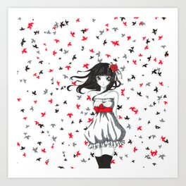 Autum girl Art Print