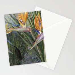 Bird of Paradise orchid flowers and Hummingbirds still life painting Stationery Cards