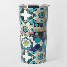 Spanish moroccan tiles inspiration // turquoise blue golden lines Travel Mug