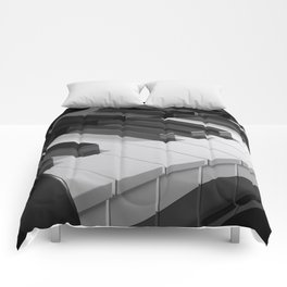Keyboard of a black piano - 3D rendering Comforters