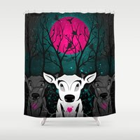 lama Shower Curtains featuring Roots To Grow and Wings To Fly  (Three Deer Twilight) by soaring anchor designs