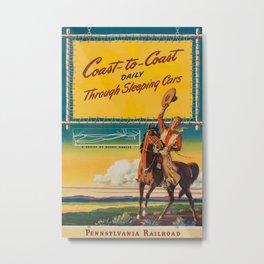 Coas to Coast daily Vintage Travel Poster Metal Print