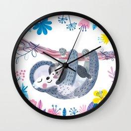 Sloth Family - Children's Art, kids room, nursery decor Wall Clock