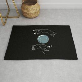 Believe in magic crystal ball,black background Rug