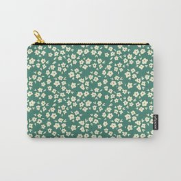 Viridian Green Coconut Cream Flower Pattern Carry-All Pouch