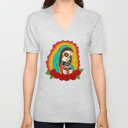 Virgin de Guadalupe Sugar Skull Unisex V-Neck