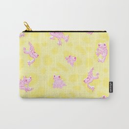 Froggy Frog pink yellow peepers Carry-All Pouch