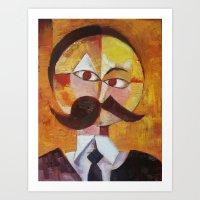 nietzsche Art Prints featuring Friedrich Nietzsche by Renee Bolinger