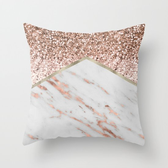 Rose Gold Decorative Pillow : Shimmering rose gold with rose gold marble Throw Pillow by Marbleco Society6