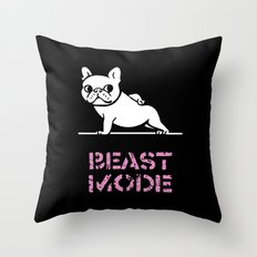 Beast Mode Frenchie Throw Pillow