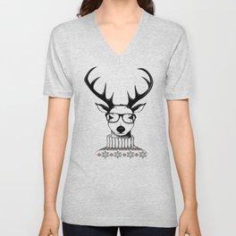 Hipster deer Unisex V-Neck