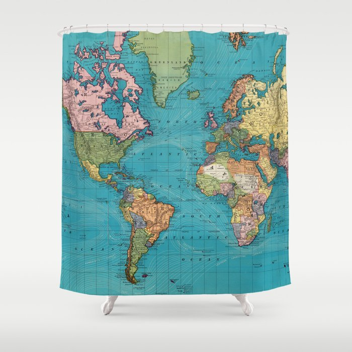 Vintage Map Of The World 1897 Shower Curtain By Bravuramedia