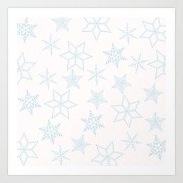 Light Blue Snowflakes On White Background Art Print