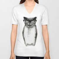 clock V-neck T-shirts featuring Mr. Owl by Isaiah K. Stephens