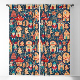 Fairy gnomes and magic houses.  Christmas trees, months and stars. Seamless Pattern in folk style. Blackout Curtain