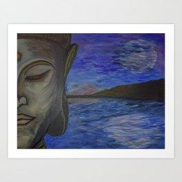 Calming Sunshine and Moonlight Buddha Art Print