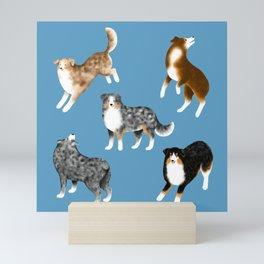 Australian Shepherd Pattern (Blue Background) Mini Art Print
