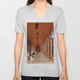 Pink Marble Arcade At Ringling Museum Unisex V-Neck