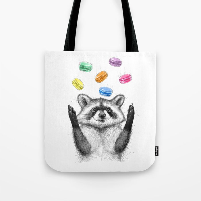 raccoon with cookies Tote Bag