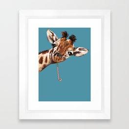 Sneaky Giraffe Framed Art Print