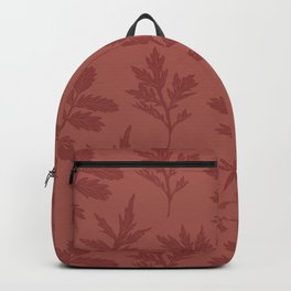 Block Print Mugwort Leaf Toss in Redwood + Chili Oil Backpack
