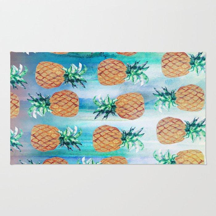 Pineapple Beach Aqua Rug By Nikkistrange