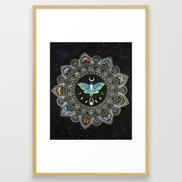 Lunar Moth Mandala with Background Framed Art Print